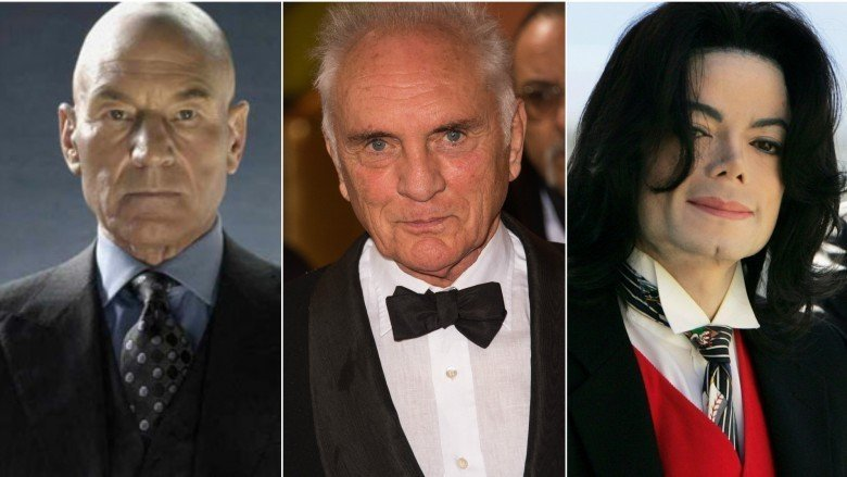 Patrick Stewart, Terence Stamp, and Michael Jackson