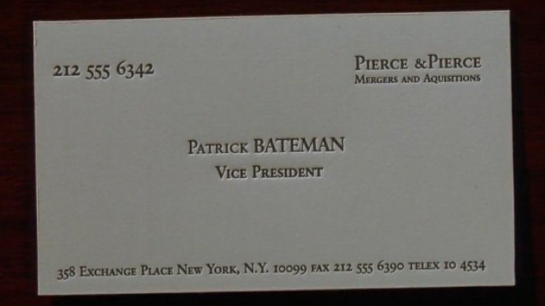 American psycho business cards video images card design and card the ending of american psycho finally explained is he even really patrick bateman reheart images reheart Choice Image