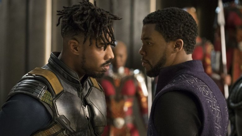 Michael B. Jordan and Chadwick Boseman in Black Panther