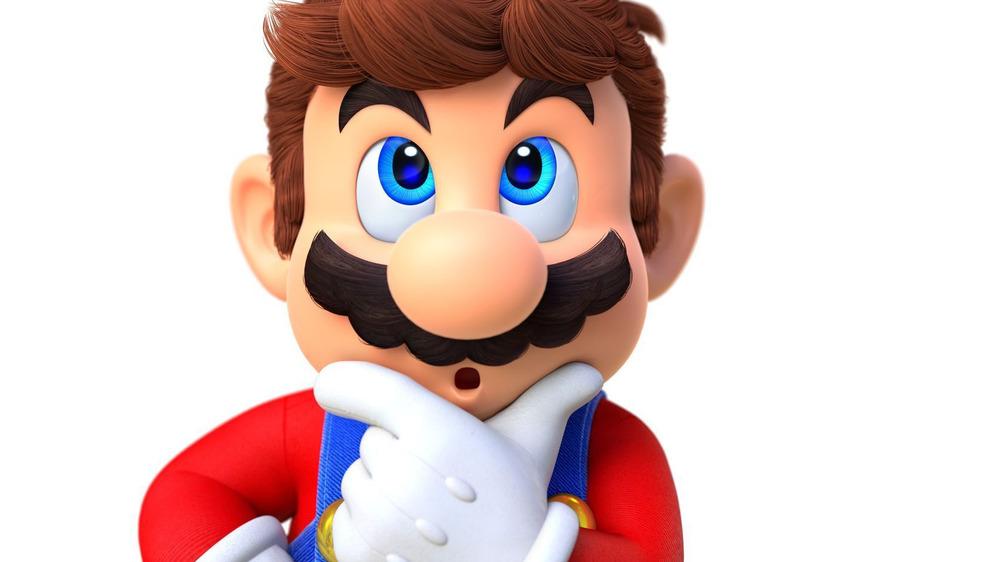 Hatless Mario thinking