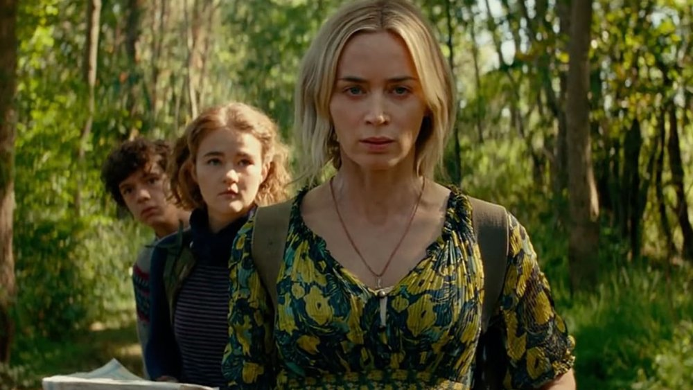 Emily Blunt, Millicent Simmons, and Noah Jupe in A Quiet Place 2