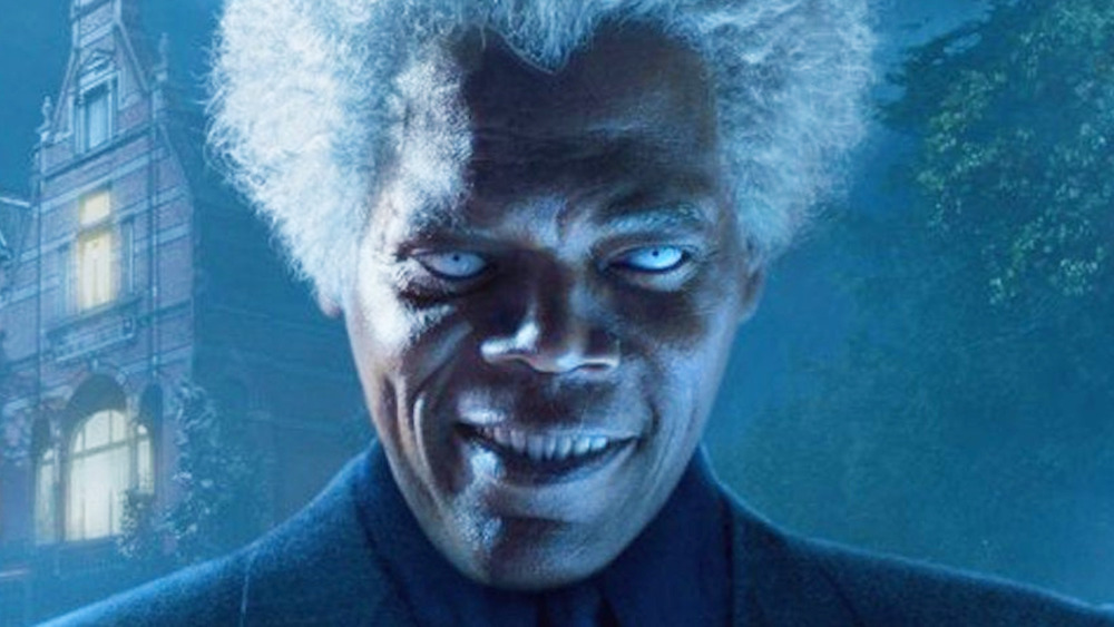 Samuel L. Jackson with white eyes