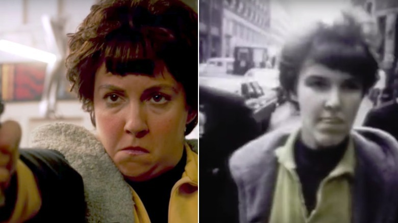 Valerie Solanas on American Horror Story and Valerie Solanas in news footage of her arrest
