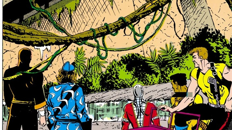The Suicide Squad outside an ancient temple in Suicide Squad #9