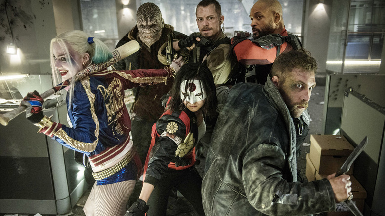A team shot of most of the team from Suicide Squad