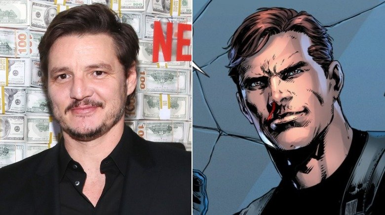 A split image of Pedro Pascal and Maxwell Lord from DC Comics
