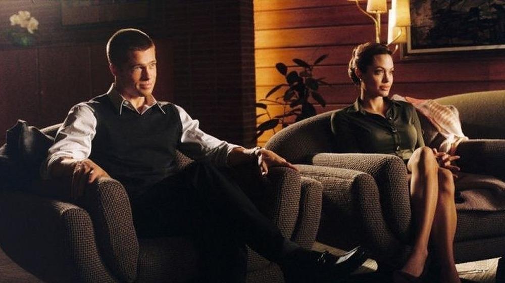 Brad Pitt and Angelina Jolie sitting