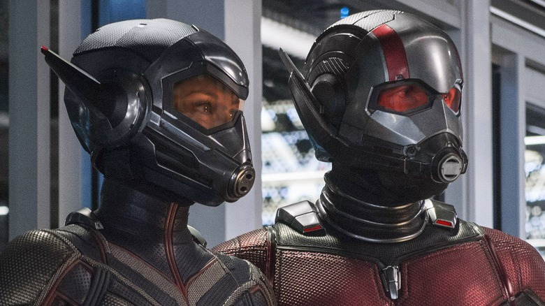 Paul Rudd as Ant-Man and Evangeline Lilly as the Wasp in Ant-Man and the Wasp
