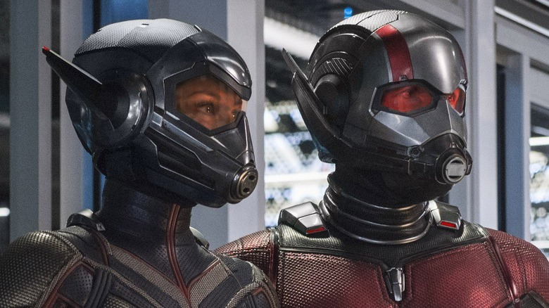 Paul Rudd as Ant-Man and Evangeline Lilly as the Wasp