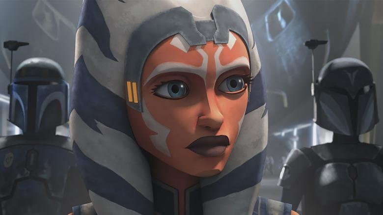 Ahsoka Tano and two Mandalorians in Star Wars: The Clone Wars' final season