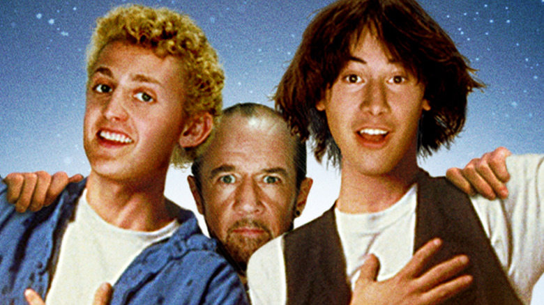 Keanu Reeves, Alex Winter, and George Carlin as Bill, Ted, and Rufus in Bill and Ted's Excellent Adventure