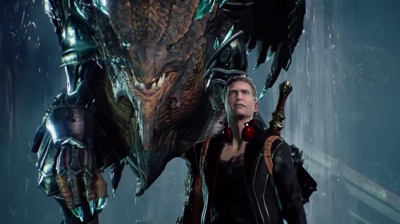 Scalebound man with dragon