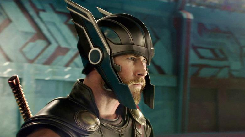 Chris Hemsworth wearing Thor helmet