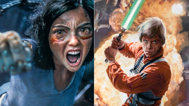 Alita punch Luke Skywalker lightsaber