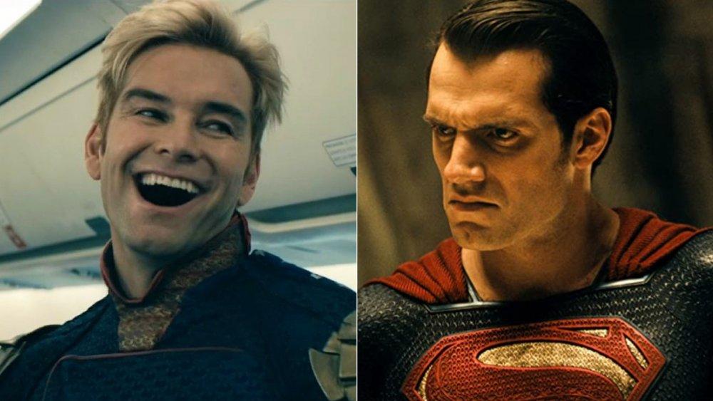 Antony Starr as Homelander on The Boys, Henry Cavill as Superman in Batman V Superman: Dawn of Justice
