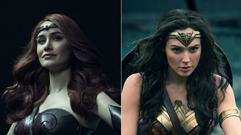 Dominique McElligott as Queen Maeve on The Boys, Gal Gadot as Wonder Woman in Wonder Woman 1984
