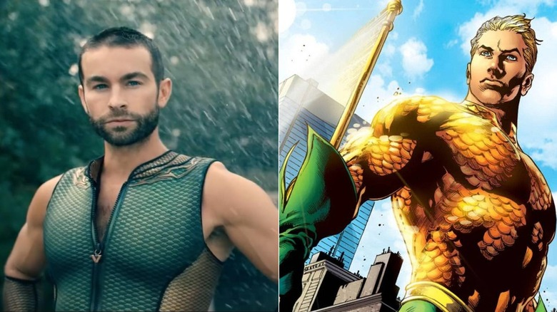 Chace Crawford as the Deep in The Boys and art of Aquaman by Ivan Reis