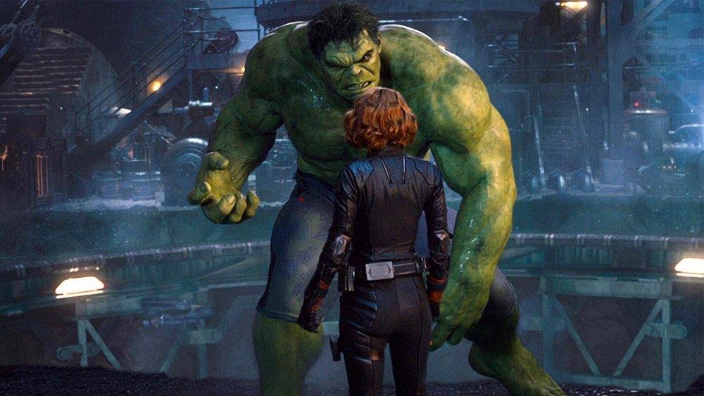 Scarlett Johansson and Mark Ruffalo as Natasha Romanoff and The Hulk