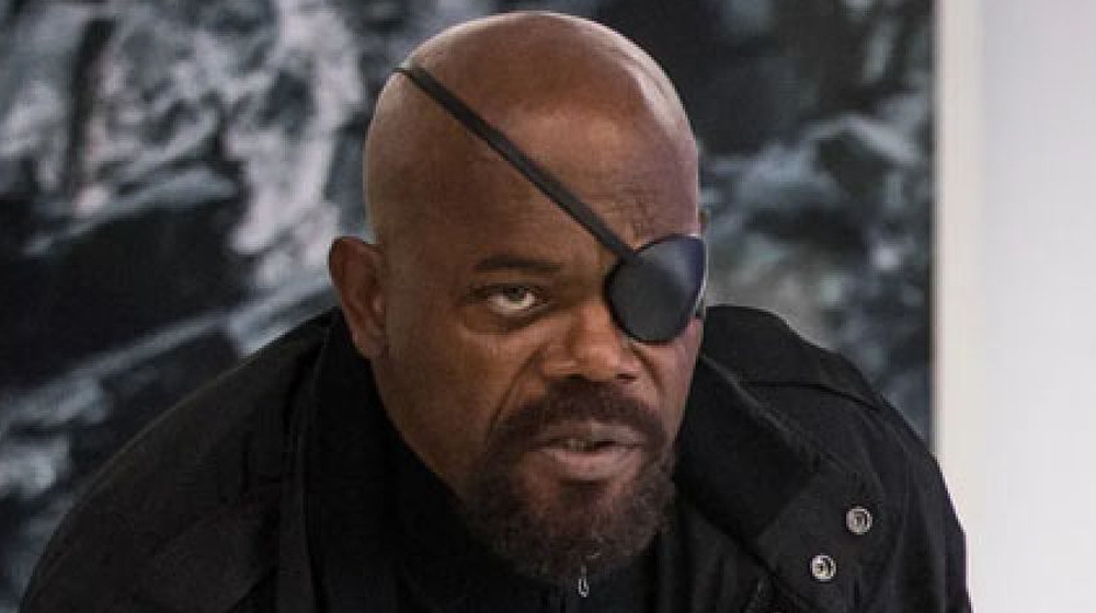 Samuel L Jackson as Nick Fury with long goatee in Spider-Man: Far From Home