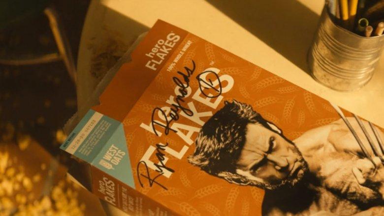 Hugh Jackman on cereal box in Deadpool 2 with Ryan Reynolds' autograph