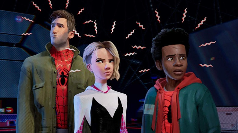 Peter B Parker, Gwen Stacy, and Miles Morales in Spider-Man: Into the Spider Verse