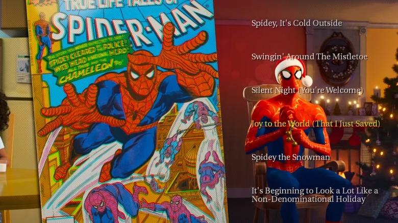 Spider-merch in in Spider-Man: Into the Spider Verse