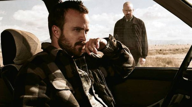 Aaron Paul as Jesse Pinkman and Bryan Cranston as Walter White