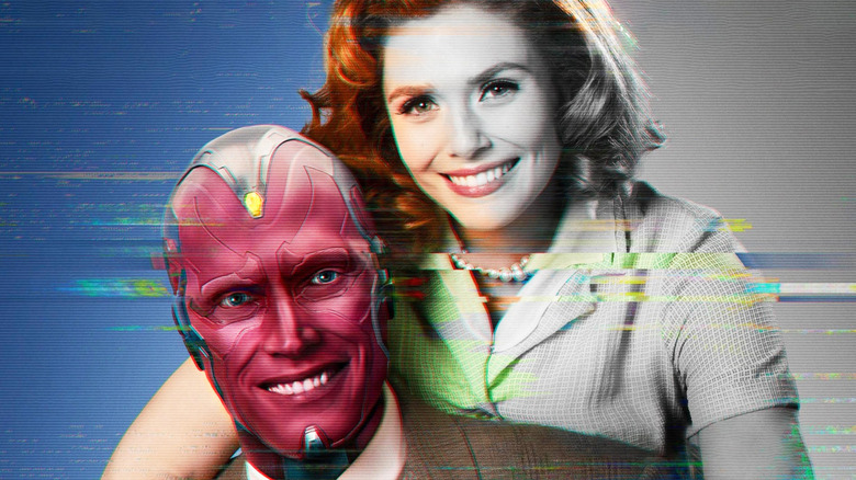 Wanda and Vision smiling, half in black and white and half in color