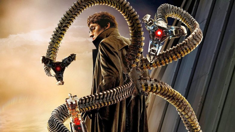 Alfred Molina as Doc Ock in poster art for Spider-Man 2