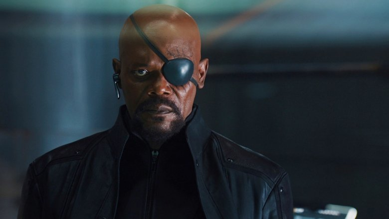 Nick Fury looking straight ahead