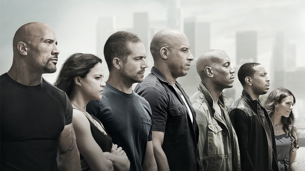 cast of Fast & Furious franchise from Furious 7 poster
