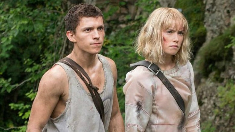 Tom Holland and Daisy Ridley on the set of Chaos Walking