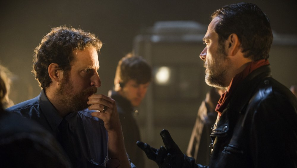 Scott Gimple and Jeffrey Dean Morgan on set of The Walking Dead