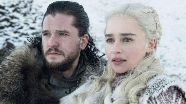 Game of Thrones Kit Harington and Emilia Clarke as Jon Snow and Daenerys Targaryen