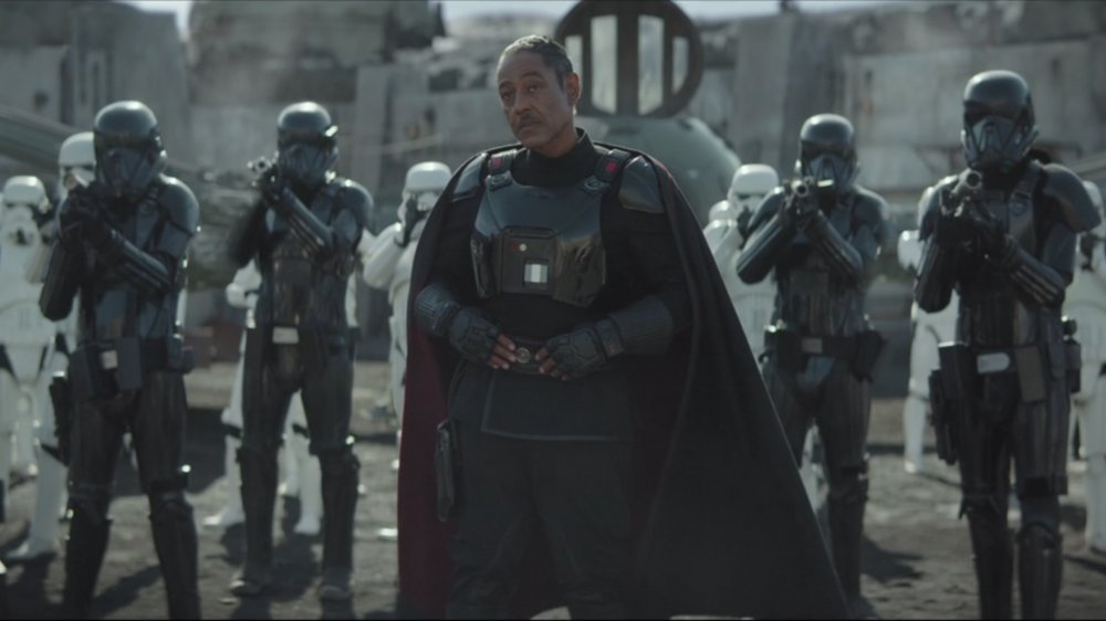 Giancarlo Esposito as Moff Gideon on The Mandalorian with Stormtroopers