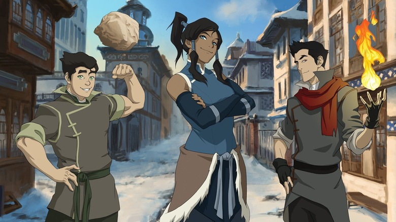 Korra, Bolin, and Mako bending