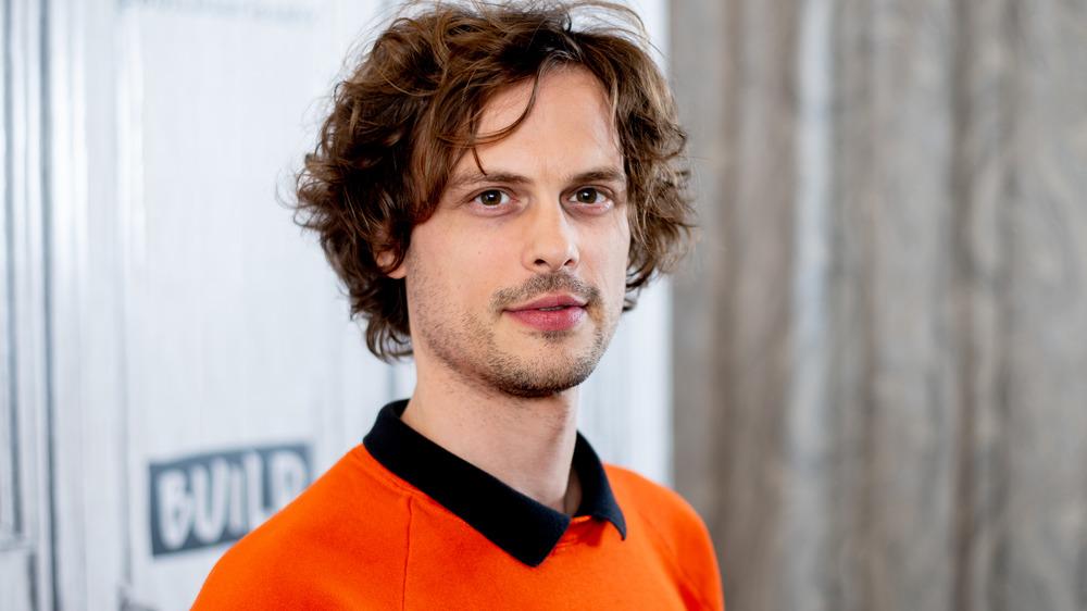 Matthew Gray Gubler orange sweater