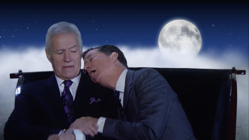 Alex Trebek and Stephen Colbert on The Colbert Report