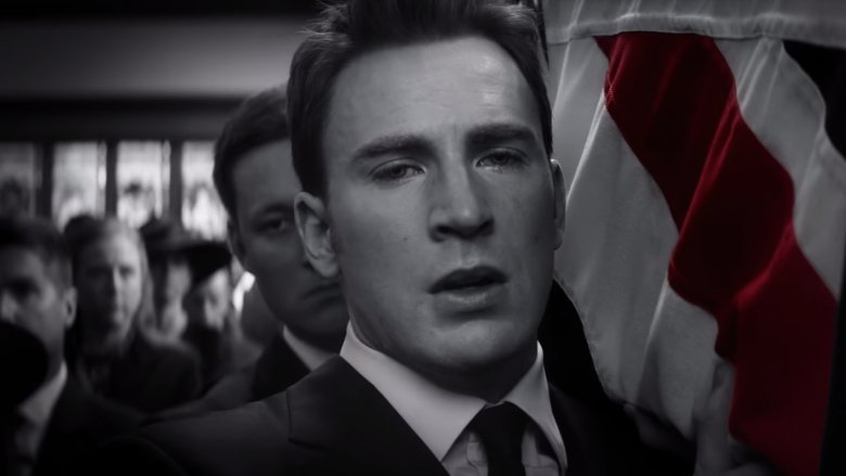 Rogers shown in black, white, and red in the Endgame trailers