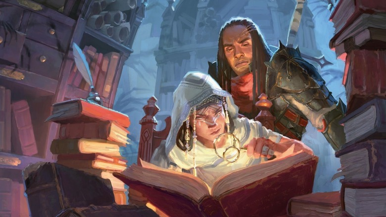 Cover art of adventurers reading a book