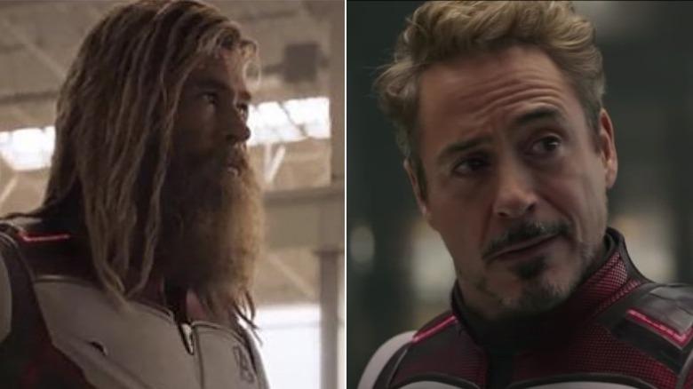 Split image of Chris Hemsworth and Robert Downey Jr. in Avengers: Endgame