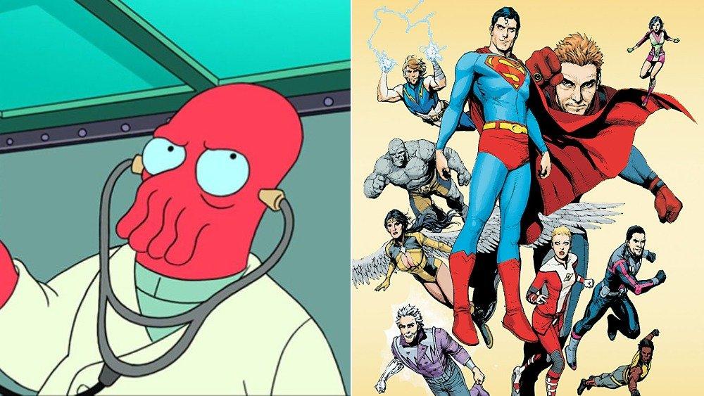 Zoidberg on Futurama and DC Comics Legion of Super-Heroes cover art
