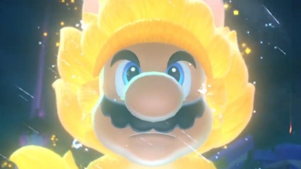 Mario looks down