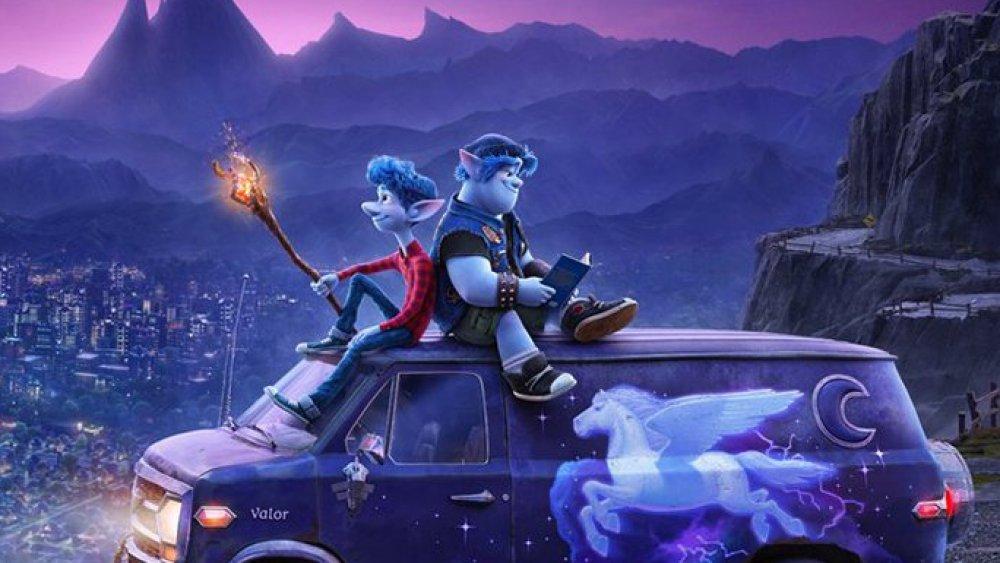 Ian and Barley Lightfoot atop their van in Pixar's Onward