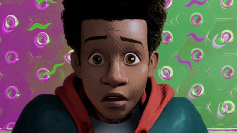 Miles Morales Into the Spider-Verse purple and green background