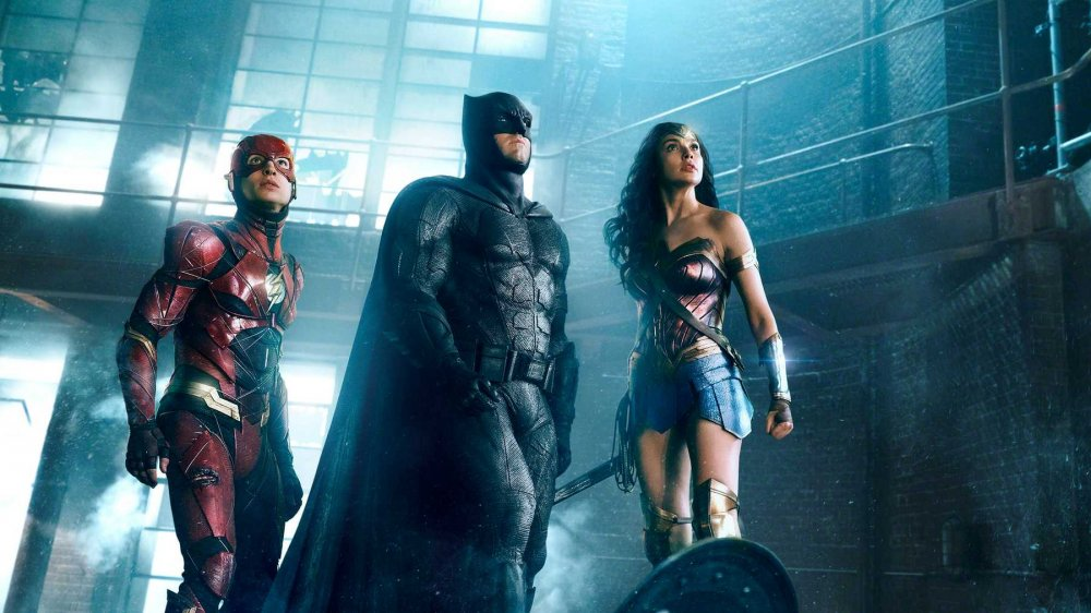 Ezra Miller, Ben Affleck, and Gal Gadot in Justice League