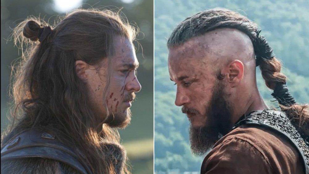 Travis Fimmel as Ragnar on Vikings and Alexander Dreymon as Uhtred on The Last Kingdom