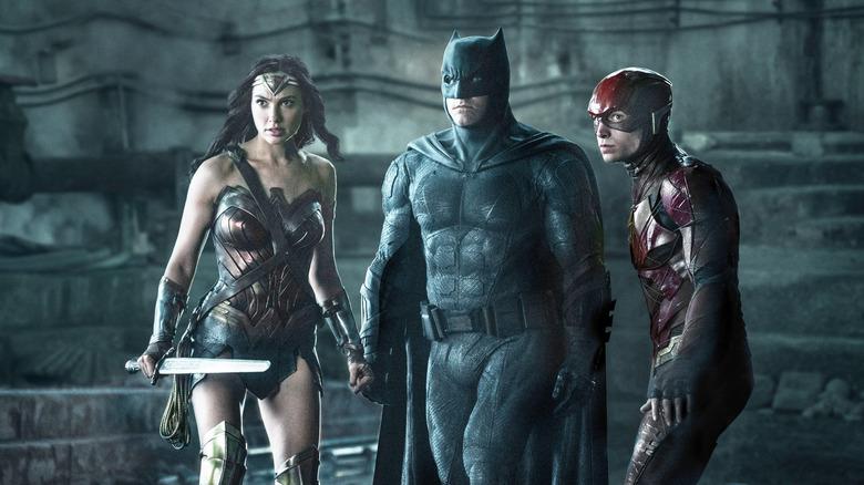 Gal Gadot, Ben Affleck, and Ezra Miller in Justice League