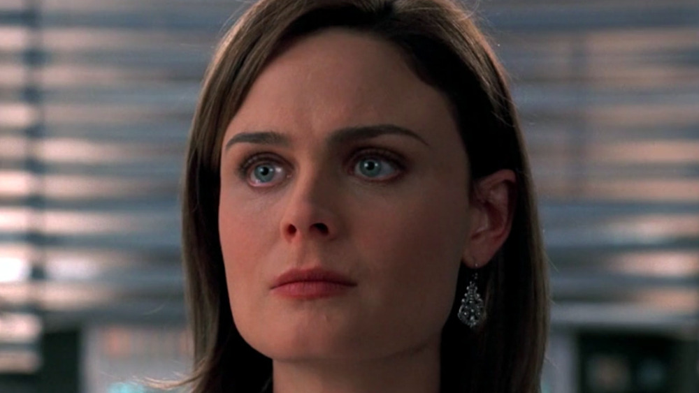 Dr. Temperance Brennan stares at someone offscreen
