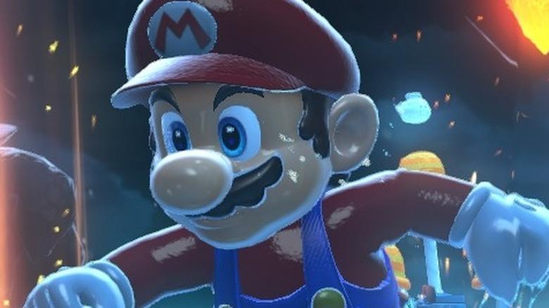 Mario runs in rain